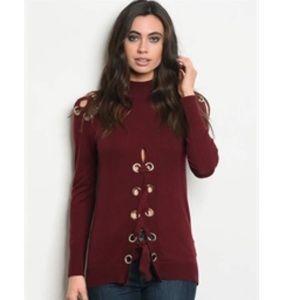 Maroon unique lace up turtleneck sweater